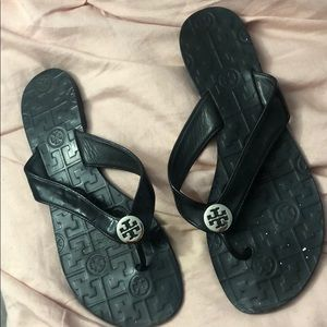 Tory Burch Flip Flops- Shiny BLACK